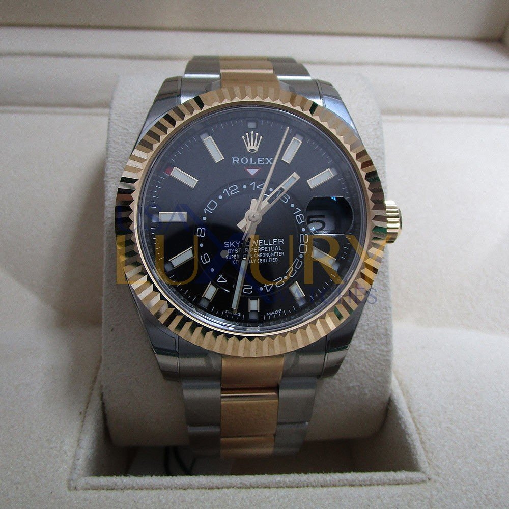 Rolex Sky Dweller Two Tone 326933 black dial New 2017 with box and papers