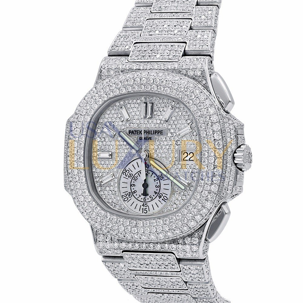 Patek philippe nautilus chronograph stainless steel ref 5980 1a all over pave diamonds for Patek phillipe watch