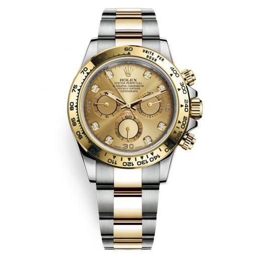 Rolex Cosmograph Daytona 116503 Champagne Diamond Oyster Steel and Gold Mens Watch