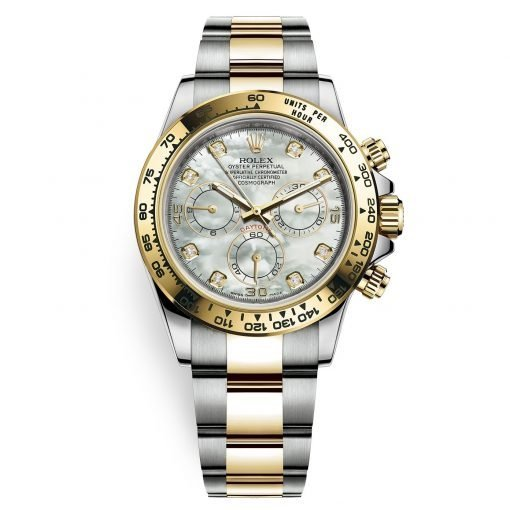 Rolex Cosmograph Daytona 116503 White MOP Diamond Oyster Steel and Gold Mens Watch