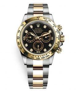 Rolex Cosmograph Daytona 116503 Black Diamond Oyster Steel and Gold Mens Watch