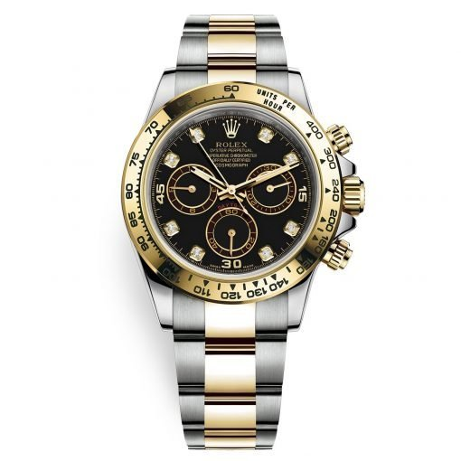 Rolex Cosmograph Daytona 116503 Black Diamond Oyster Steel and Gold Mens Watch