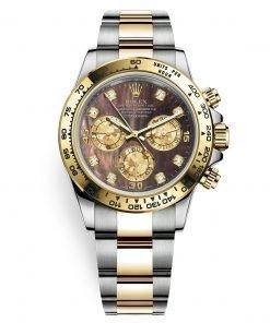 Rolex Cosmograph Daytona 116503 Black MOP Diamond Oyster Steel and Gold Mens Watch