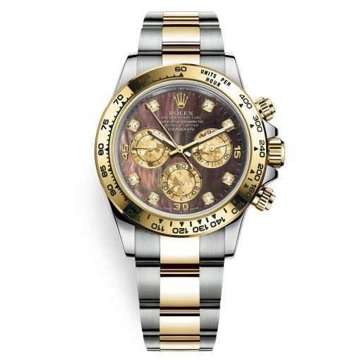 Rolex Cosmograph Daytona 116503 Black MOP Diamond Oyster Steel and Gold Mens Watch