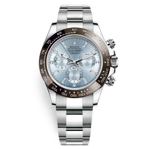 Rolex Cosmograph Daytona 116506 Ice Blue Baguette Index Platinum Mens Watch