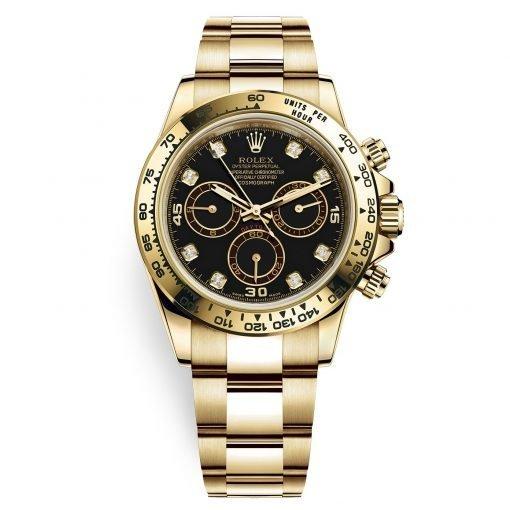Rolex Cosmograph Daytona 116508 Black Diamond Oyster Yellow Gold Mens Watch