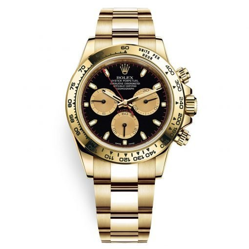 Rolex Cosmograph Daytona 116508 Black Champagne Index Oyster Yellow Gold Mens Watch