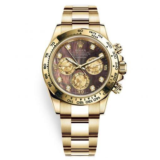 Rolex Cosmograph Daytona 116508 Black MOP Diamond Oyster Yellow Gold Mens Watch