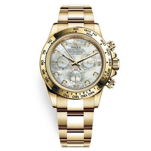 Rolex Cosmograph Daytona 116508 White MOP Diamond Oyster Yellow Gold Mens Watch