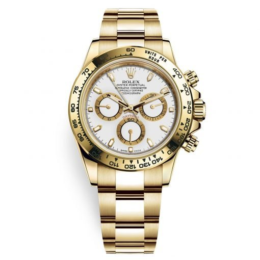 Rolex Cosmograph Daytona 116508 White Index Oyster Yellow Gold Mens Watch