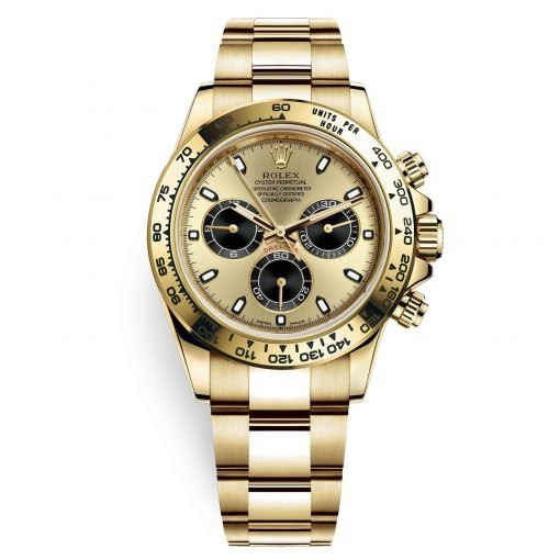 Rolex Cosmograph Daytona 116508 Champagne Black Index Oyster Yellow Gold Mens Watch