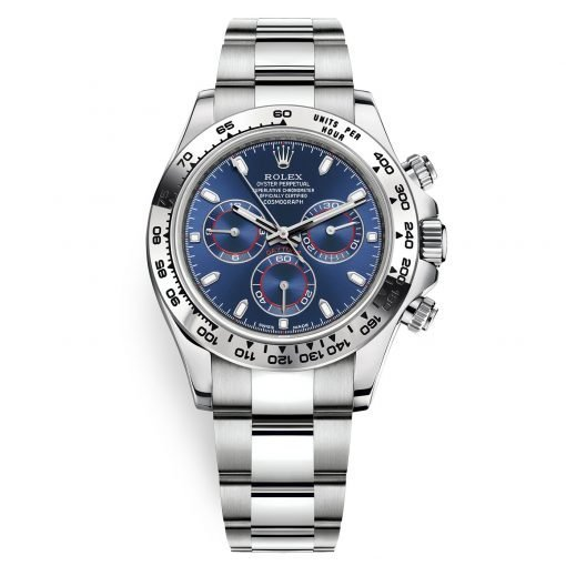 Rolex Cosmograph Daytona 116509 Blue Index Oyster White Gold Mens Watch