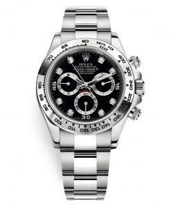 Rolex Cosmograph Daytona 116509 Black Diamond Oyster White Gold Mens Watch