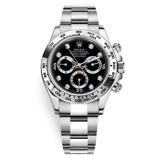 Rolex Cosmograph Daytona 116509 Black Diamond Oyster White Gold Mens Watch