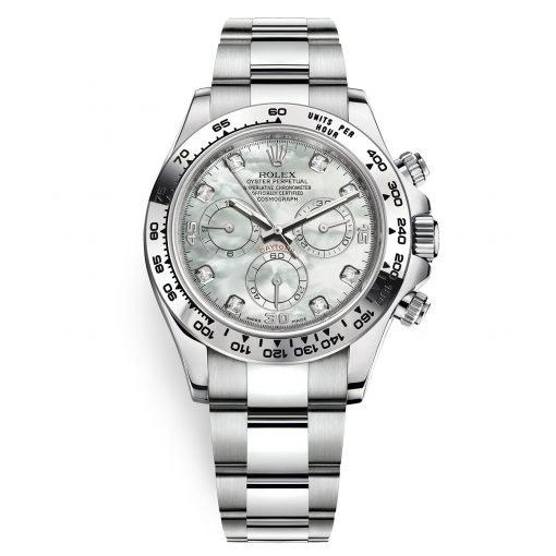 Rolex Cosmograph Daytona 116509 White MOP Diamond Oyster White Gold Mens Watch