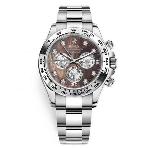 Rolex Cosmograph Daytona 116509 Black MOP Gold Crystals Diamond Oyster White Gold Mens Watch