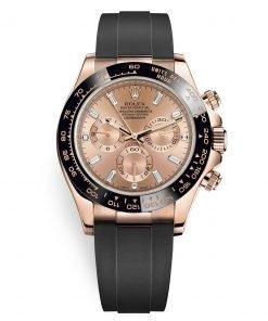Rolex Cosmograph Daytona 116515LN Pink Baguette Oysterflex Everose Gold Mens Watch