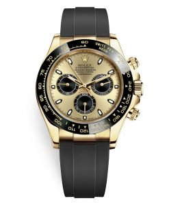 Rolex Cosmograph Daytona 116518LN Champagne Black Oysterflex Yellow Gold Mens Watch