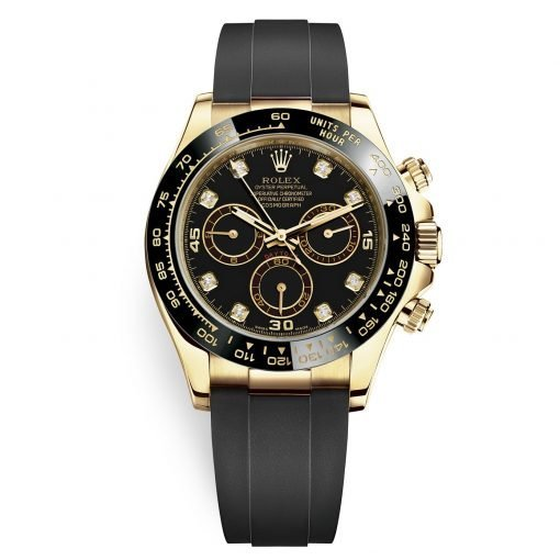 Rolex Cosmograph Daytona 116518LN Black Diamond Dial Oysterflex Yellow Gold Mens Watch