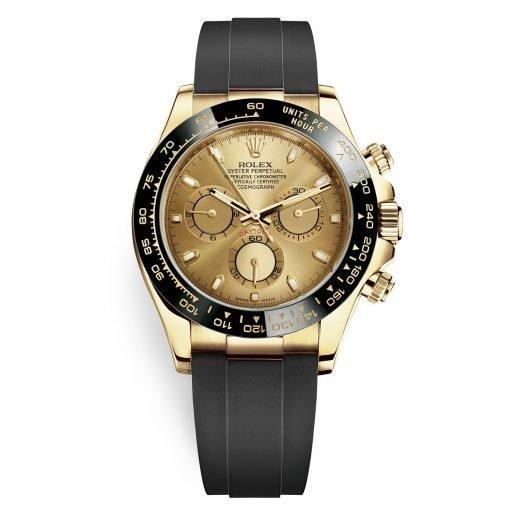Rolex Cosmograph Daytona 116518LN Champagne Dial Oysterflex Yellow Gold Mens Watch