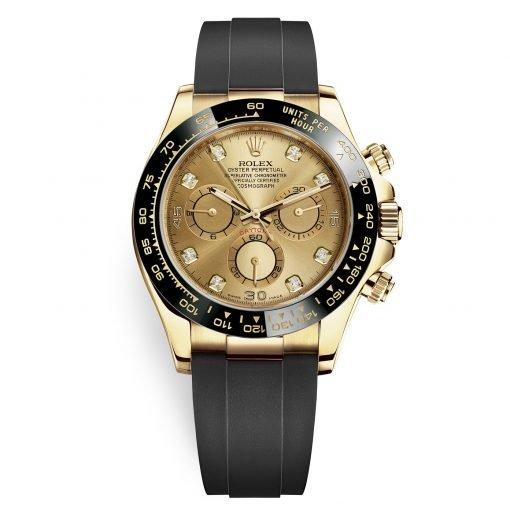 Rolex Cosmograph Daytona 116518LN Champagne Diamond Dial Oysterflex Yellow Gold Mens Watch