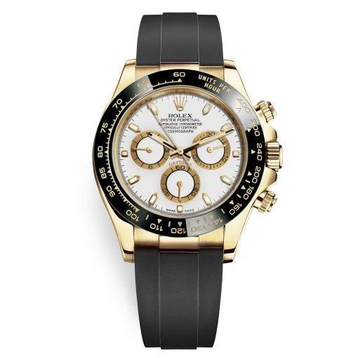 Rolex Cosmograph Daytona 116518LN White Dial Oysterflex Yellow Gold Mens Watch