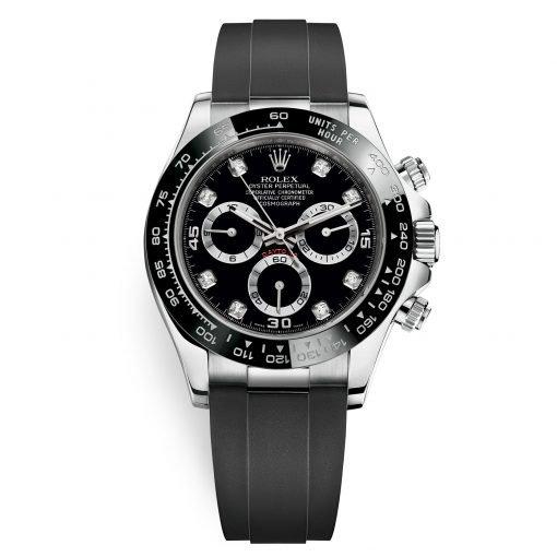 Rolex Cosmograph Daytona 116519LN Black Diamond Dial Oysterflex White Gold Mens Watch