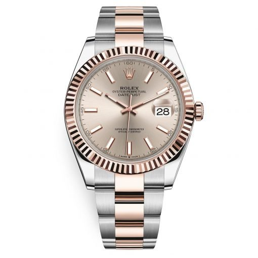 Rolex Datejust 126331 Sundust Index Oyster 41mm Steel and Everose Gold Mens Watch