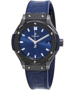 Hublot Classic Fusion Quartz 33mm Ladies Watch 581.cm.7170.lr Ceramic Blue