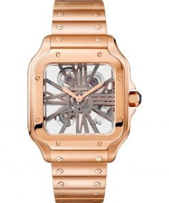 SANTOS DE CARTIER SKELETON PINK GOLD 39.8 mm WATCH WHSA0008