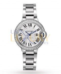 Cartier Ballon Bleu W4BB0016 Silver Flinque Sunray Dial Ladies Watch