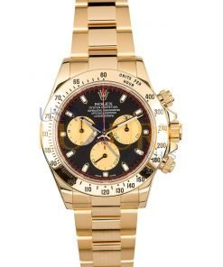 Rolex Daytona 116528 18k Yellow Gold Black and Champagne Dial Automatic Watch