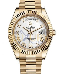 Rolex Day-date 218238 41mm 18k Yellow Gold White Roman Dial Watch