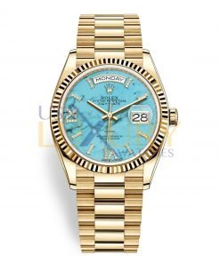 Rolex Day-Date 128238 36mm 18K Yellow Gold President Turquoise Diamond Dial