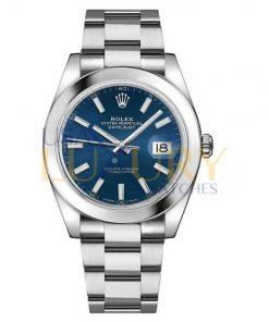 Rolex Datejust 126300 41 Smooth Bezel Blue Index Dial Oyster Bracelet Watch