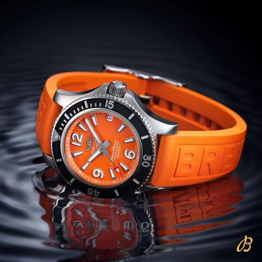 Breitling Ladies SUPEROCEAN AUTOMATIC 36, Stainless Steel, Orange dial, A17316D71O1S1