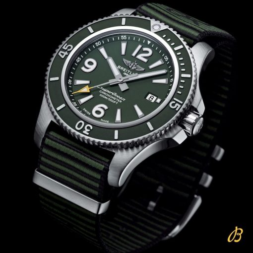 Breitling Men's Superocean Automatic 44 Outerknown, Stainless Steel, Matt green dial, A17367A11L1W1