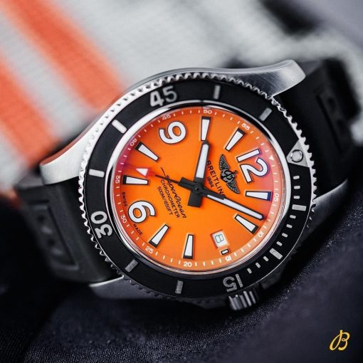 Breitling Men's Superocean Automatic 42, Stainless Steel, Orange dial, A17366D71O1S2