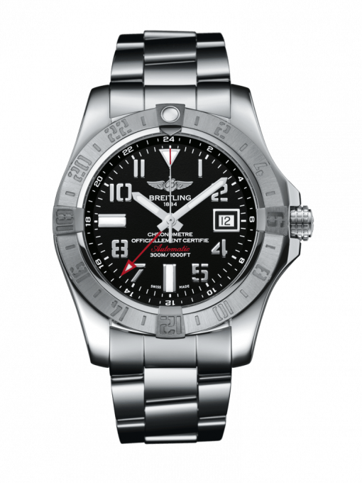 Breitling Men's AVENGER II GMT, 43mm, Stainless Steel, Black dial, A32390111B2A1