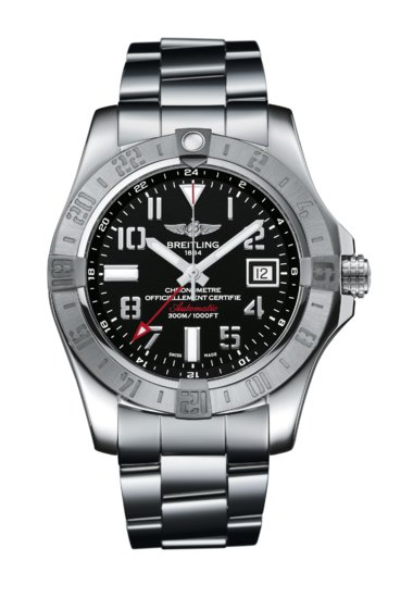 "Breitling Avenger II GMT, Stainless Steel, 43mm, ""Volcano Black"" dial, A32390111B1A1"
