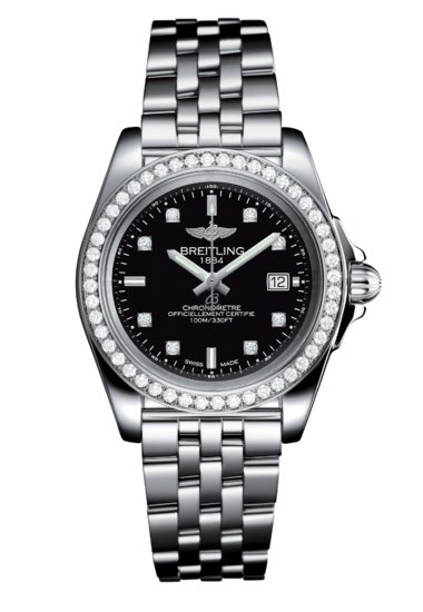 Breitling Ladies Galactic 32 Sleek, 32mm, Stainless Steel and Diamond set, Trophy black dial, A71330531B1A1