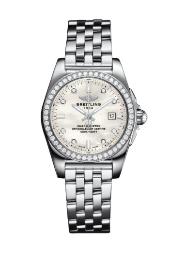 Breitling Ladies Galactic 29 Sleek, 29mm, Stainless Steel and Diamond set, White Mother of Pearl dial, A72348531A1A1