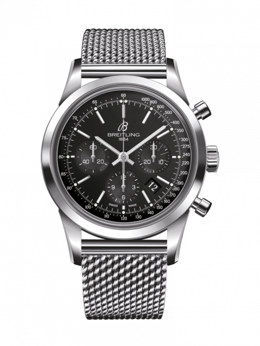 Breitling TRANSOCEAN CHRONOGRAPH, 43mm, Stainless Steel, Black Dial, AB0152121B1A1