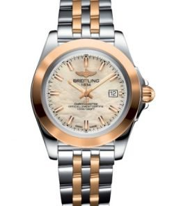 Breitling Women's GALACTIC 32 SLEEK, 32mm, Stainless Steel and 18k Rose Gold, Mother-of-pearl Dial, C71330121A1C1