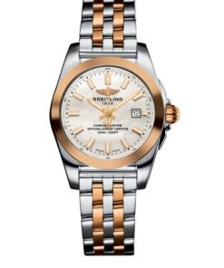 Breitling Women's GALACTIC 29 SLEEK, 29mm, Stainless Steel and 18k Rose Gold, White mother-of-pearl Dial, C72348121A1C1