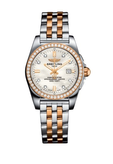 Breitling Women's GALACTIC 29 SLEEK, 29mm, Stainless Steel and 18k Rose Gold, Mother-of-pearl Dial, C72348531A1C1