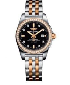 Breitling Women's GALACTIC 29 SLEEK, 29mm, Stainless Steel and 18k Rose Gold, Black Dial, C72348531B1C1
