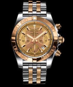 Breitling Men's CHRONOMAT 44, Stainless Steel and 18k Rose Gold, Golden Sun Dial, CB0110121H1C1