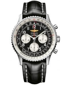 Navitimer 01 Chronograph Automatic Black Dial Black Leather Mens Watch 012012/BB02-435X-A20BA1