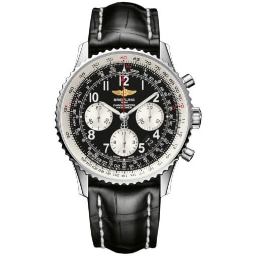 Navitimer 01 Chronograph Automatic Black Dial Black Leather Mens Watch 012012/BB02-435X-A20BA1